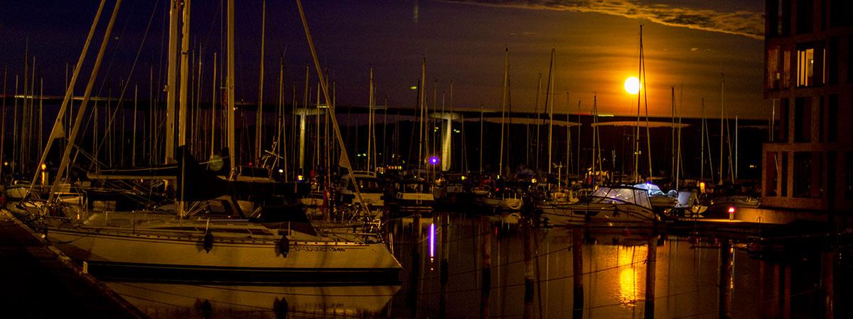 Fuldmåne på havnen