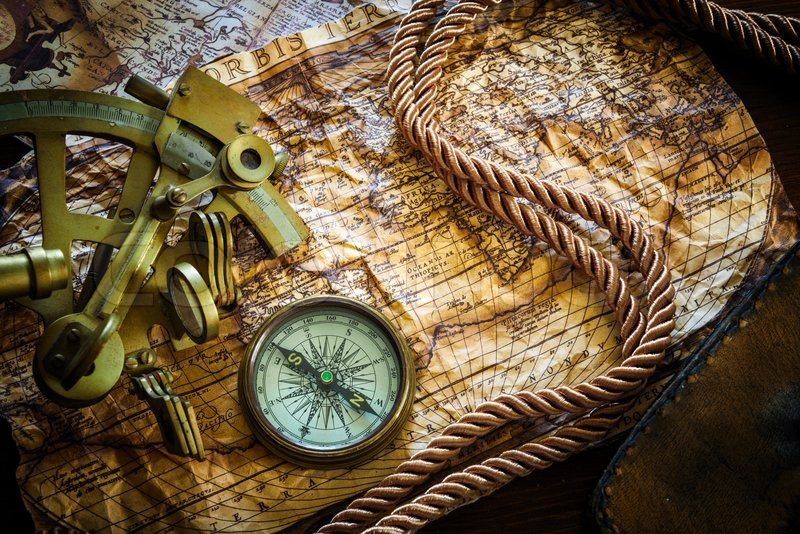 8006441-vintagestill-life-with-compass-sextant-and-old-map